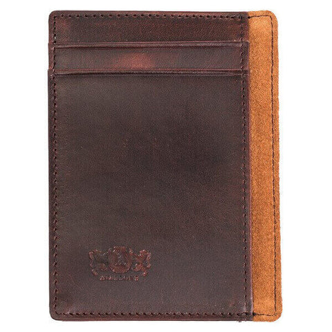 Avallone Men's Antique Money Clip Wallet - Brown Handmade Leather - AV004