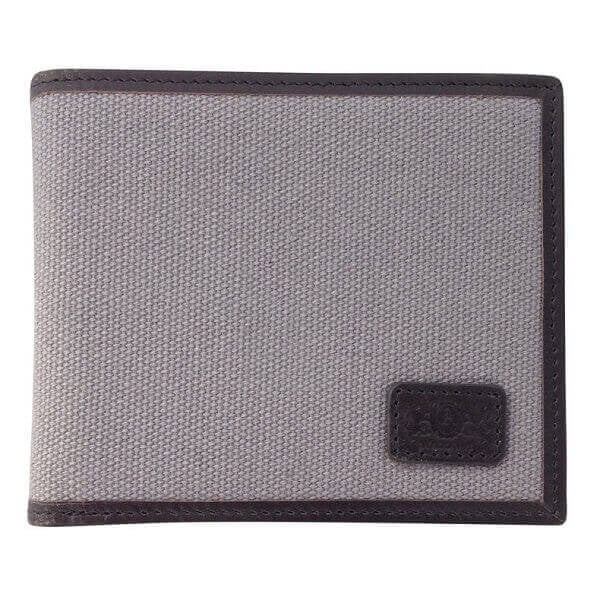 Avallone Men's Canvas & Leather Bi-Fold RFID Wallet - Grey Handmade Leather - CVG006