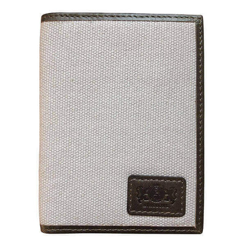 Avallone Men's Canvas & Leather Front Pocket RFID Wallet - Grey Handmade Leather - CVG011