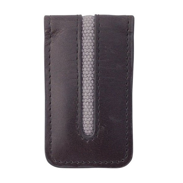 Avallone Men's Canvas & Leather Magnetic Money Clip - Grey Handmade Leather - CVG008