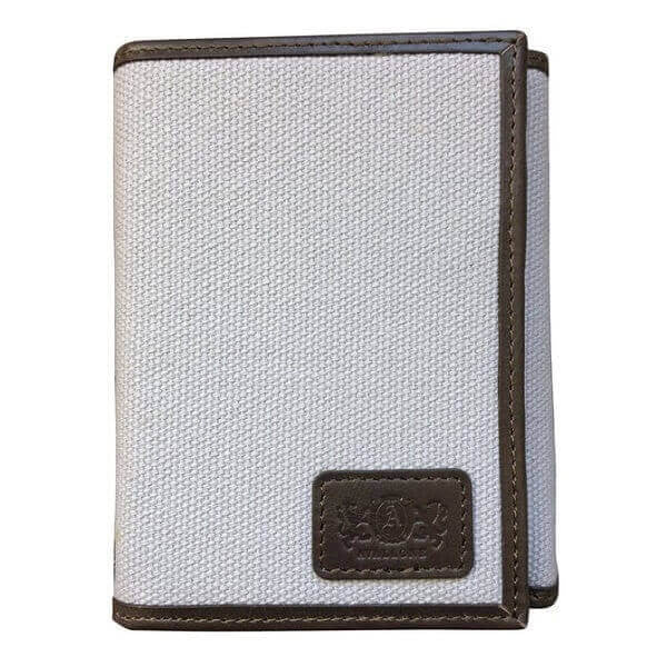 Avallone Men's Canvas & Leather Tri-Fold RFID Wallet - Grey Handmade Leather - CVG007