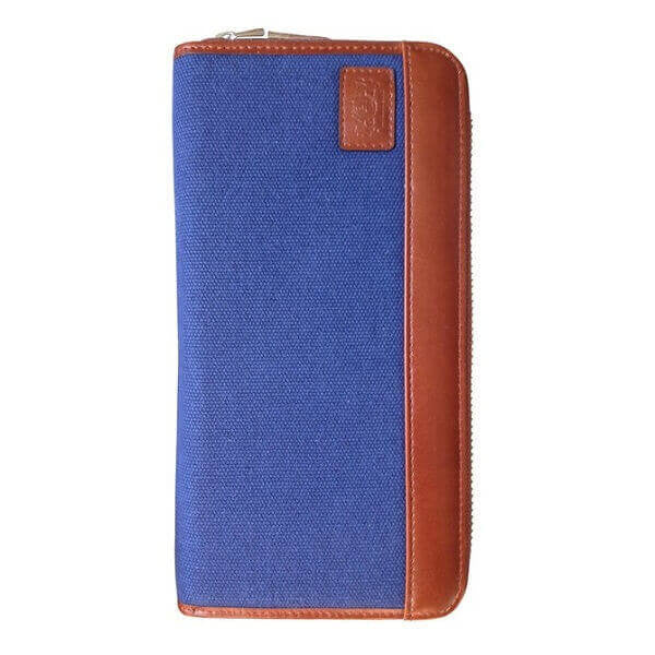Avallone Men's Canvas & Leather Zipper Travel RFID Wallet - Navy Blue Handmade Leather - CVB010