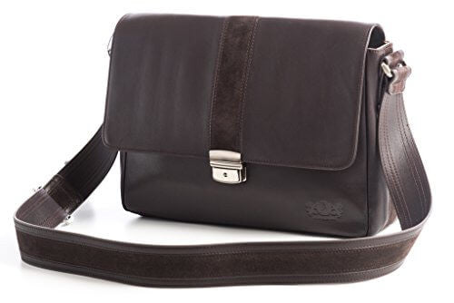 Avallone Men's City Messenger Bag - Brown Handmade Italian Napa Leather - 1CMMSBR