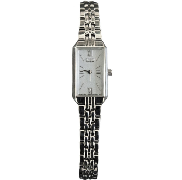 Citizen EG2690-50A Women's Slim Silver Tone Eco-Drive Watch - Dealsie.com