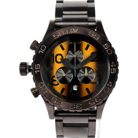Nixon A0371073 Men's Chrono Brown Ion Plated Stainless Steel Tiger's Eye Dial Watch