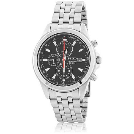 Seiko SNDE99 Black Dial Chronograph Tachymeter Stainless Steel Men's Watch
