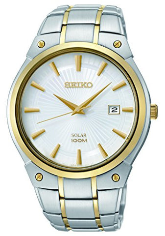 Seiko Men's SNE324 Dress Solar Analog Display Japanese Quartz Two Tone Watch
