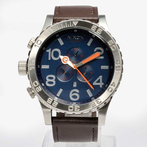 Nixon A124879 51-30 CHRONO Leather Brown And Navy Blue Men's Watch