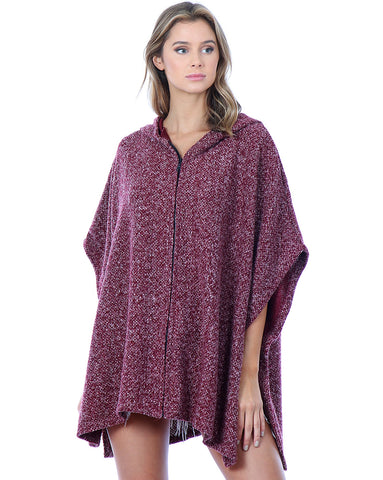 Hummingbird Hooded Zip Front Poncho