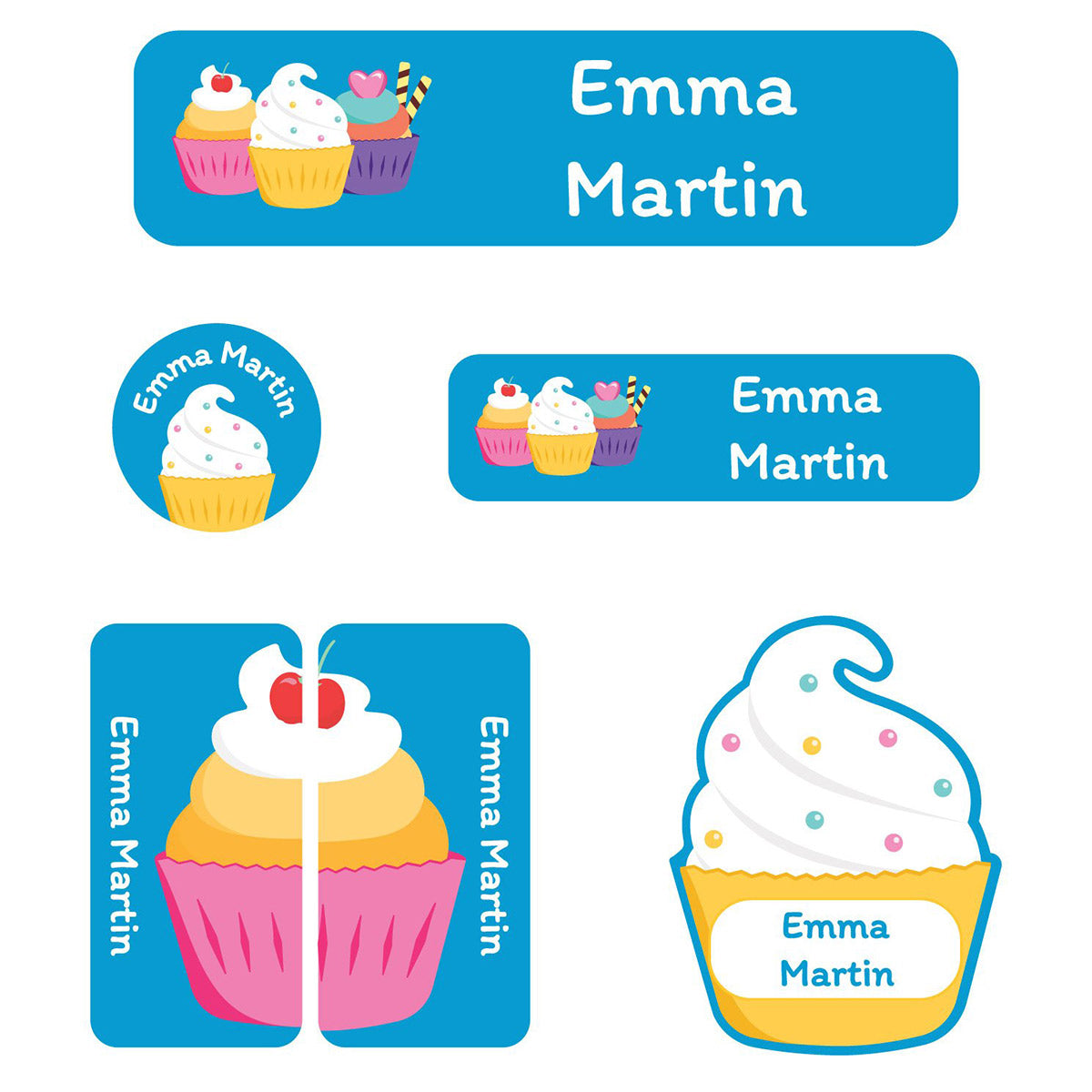 Name Bubbles Cupcake Daycare Labels Pack.