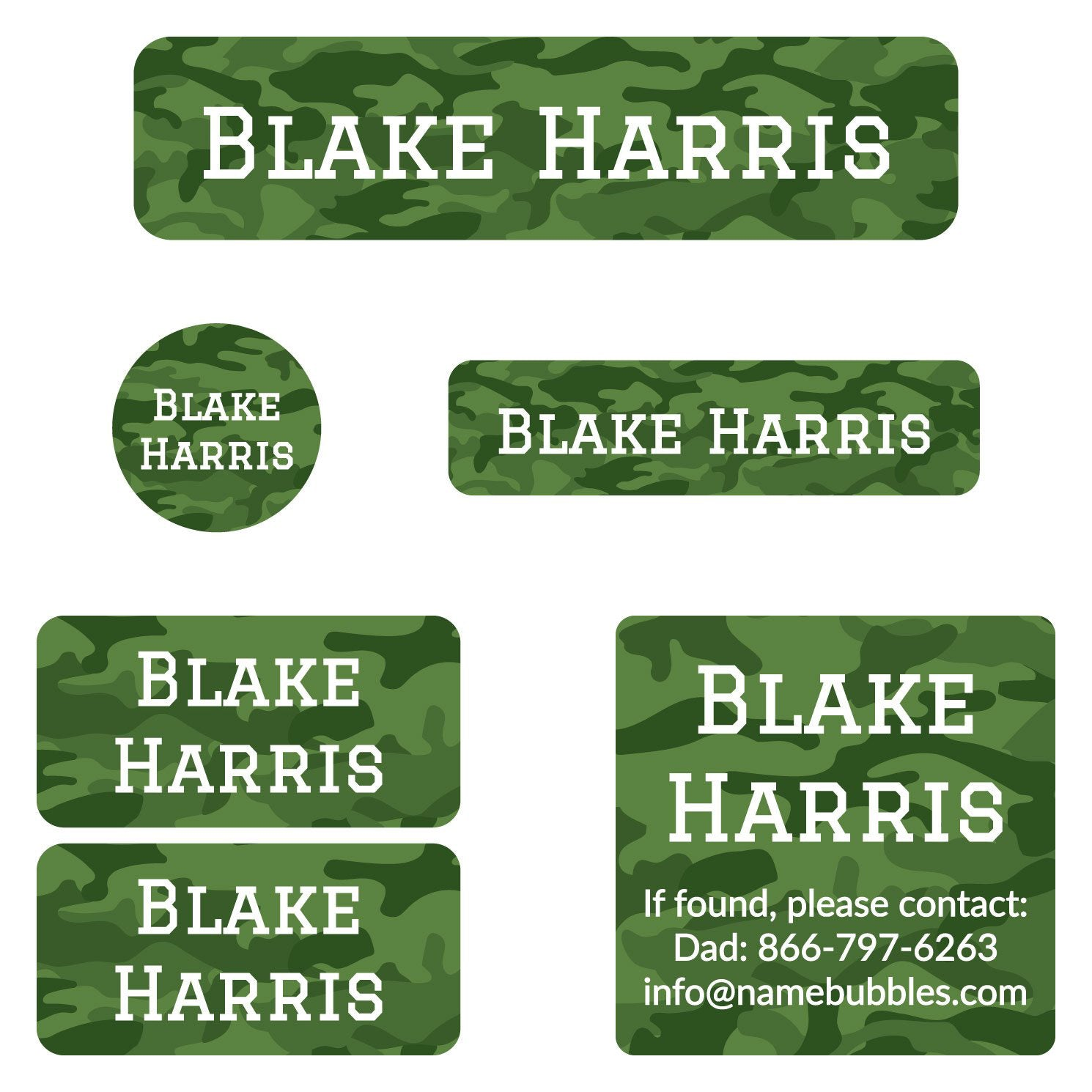 Name Bubbles Camo Style Camp Labels.