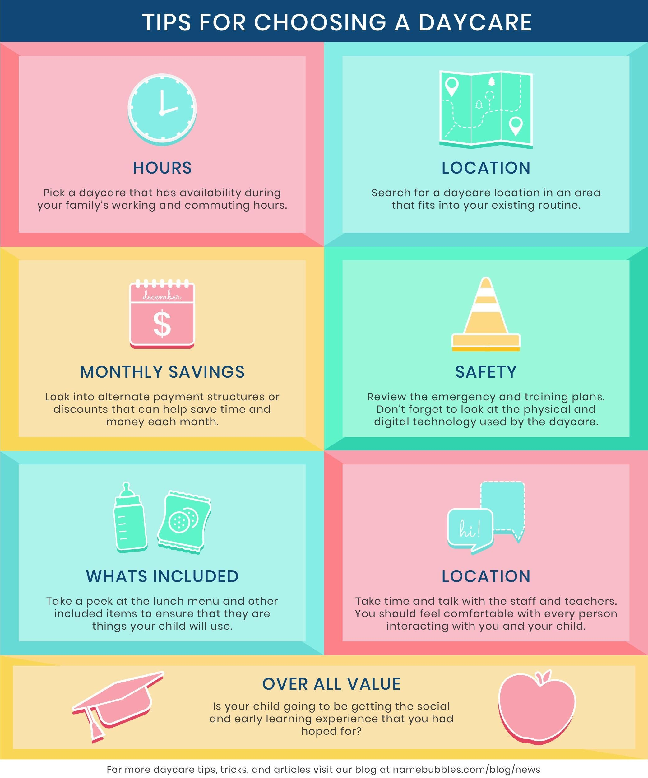 Name Bubbles top tips for choosing the right daycare.