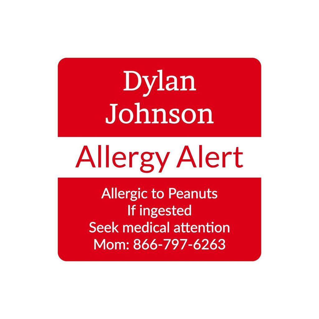 custom allergy labels