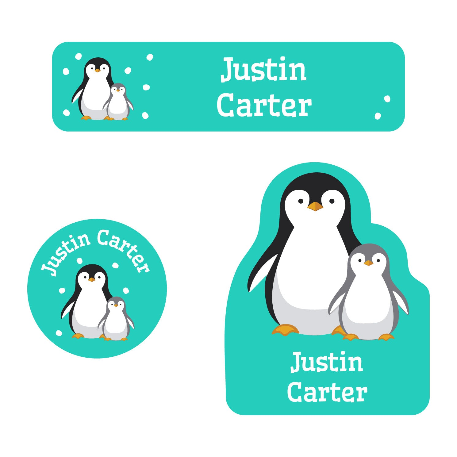 baby labels pack with a pair of penguins