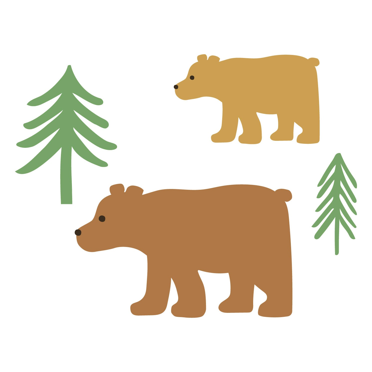 bears and trees waterproof stickers