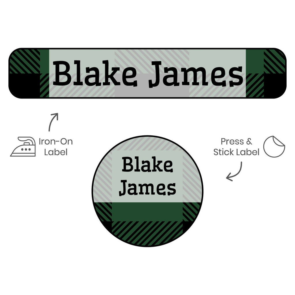 clothing labels for camp with plaid design