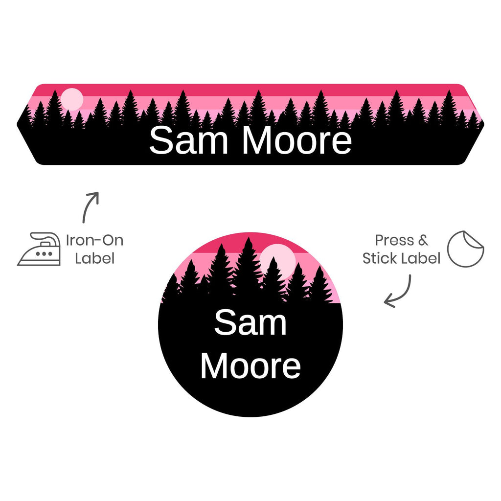 clothing labels for camp with forest silhouette and sky design