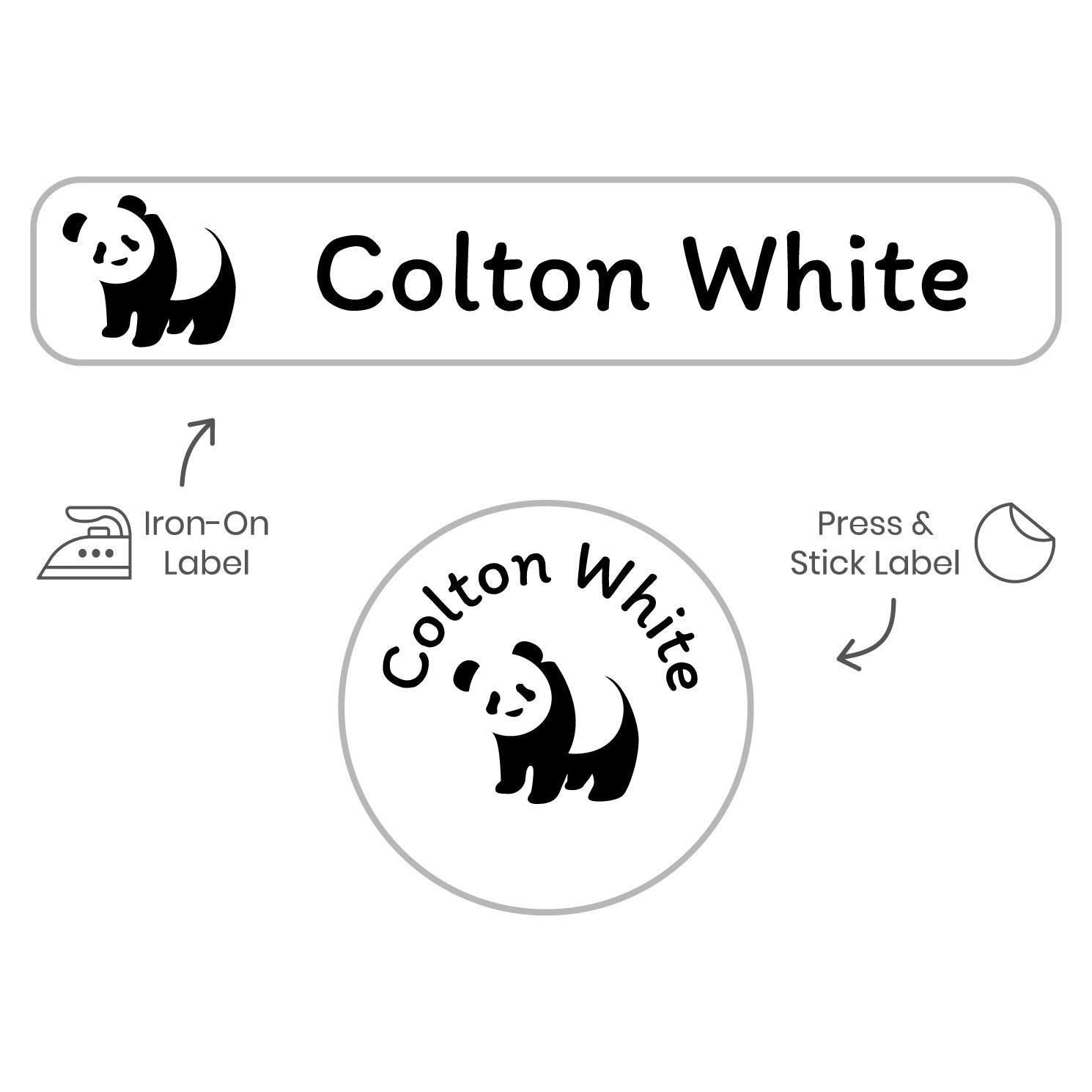 dryer safe labels with panda design