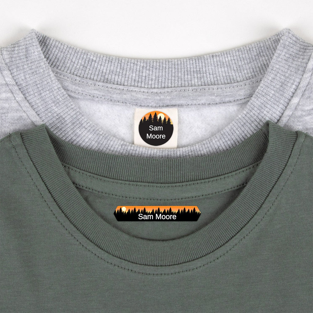 name tags for clothing with forest silhouette and sky design - _Forest Sky_Orange