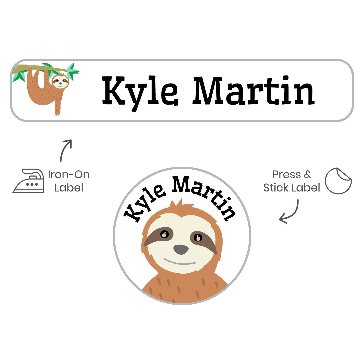 laundry safe kids stickers with sloth design