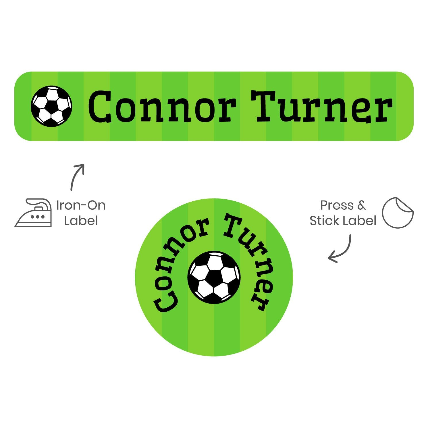 a mix of laundry safe vinyl and iron on labels featuring a soccerball on a striped green background