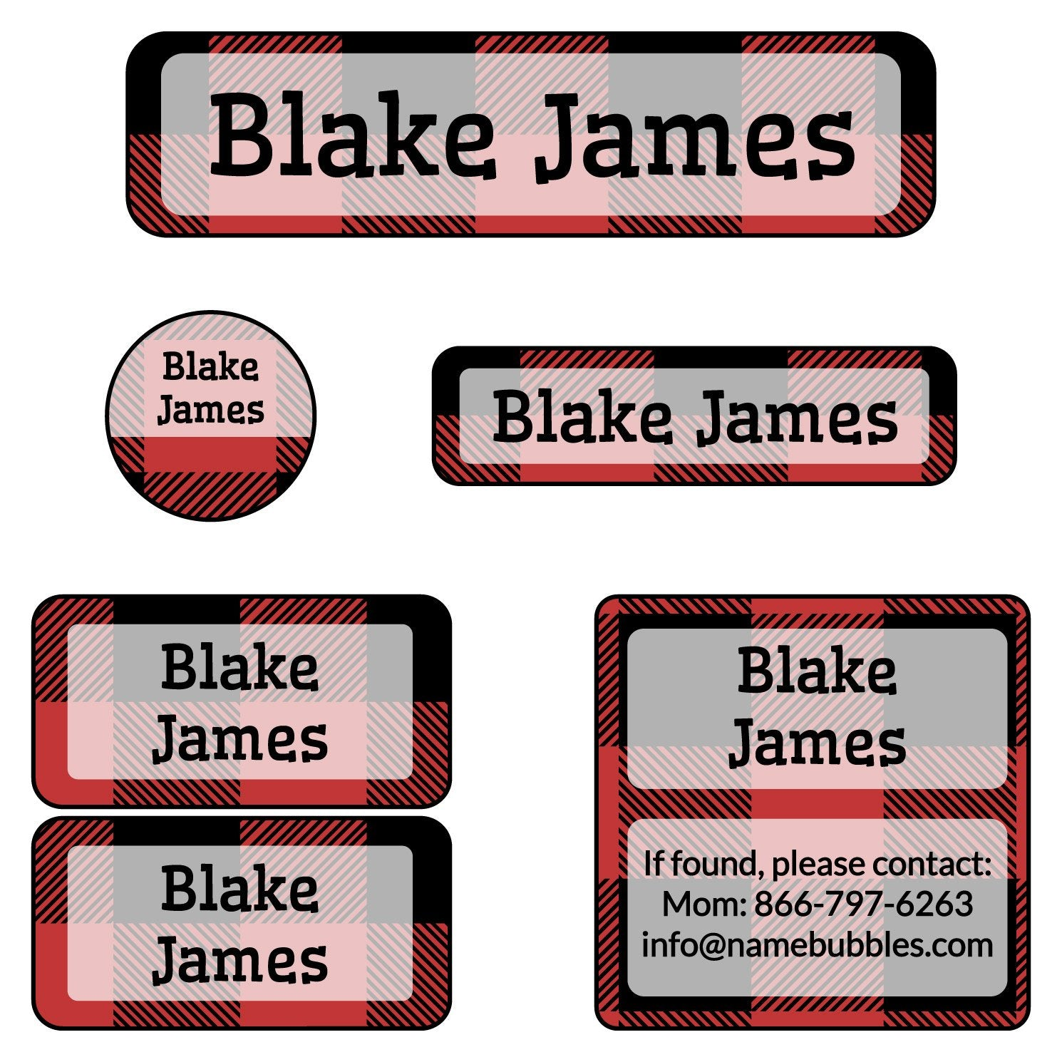name stickers for camp with plaid design