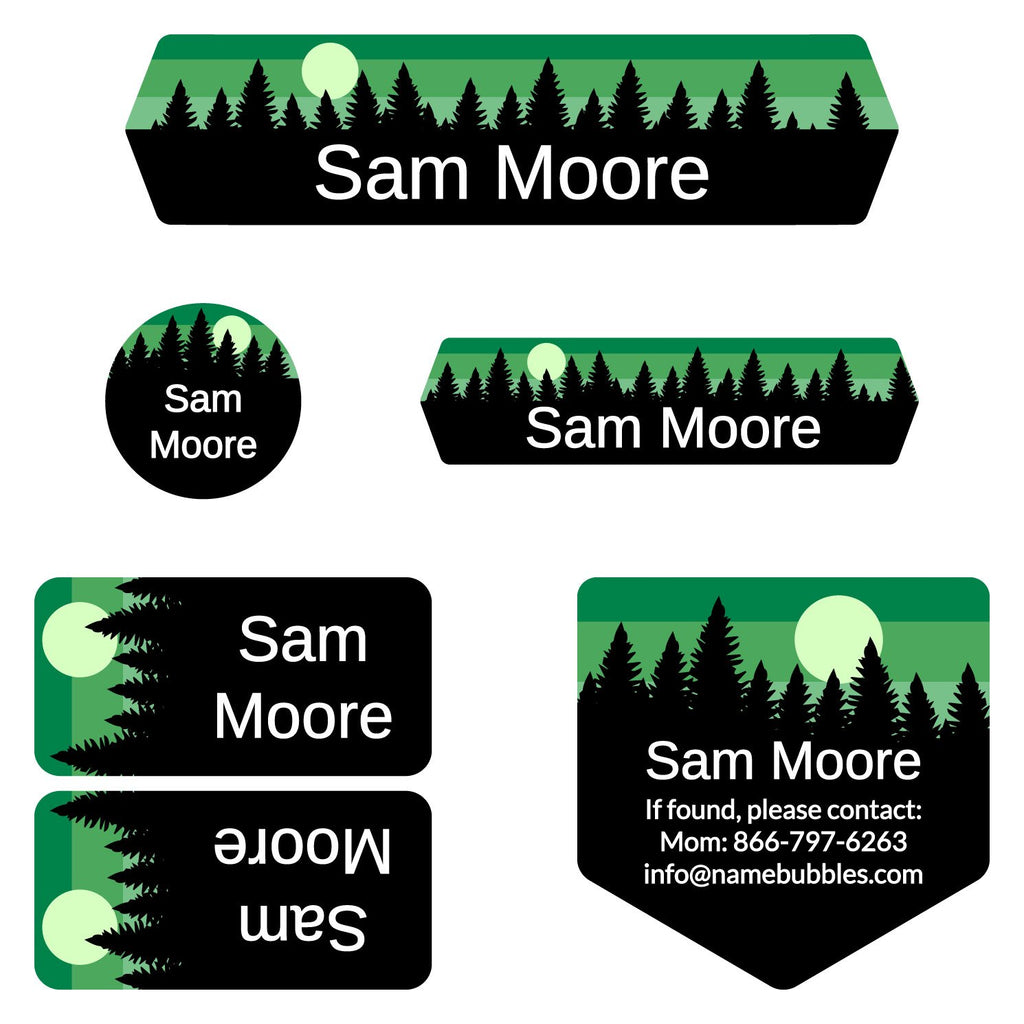 name stickers for camp with forest silhouette and sky design