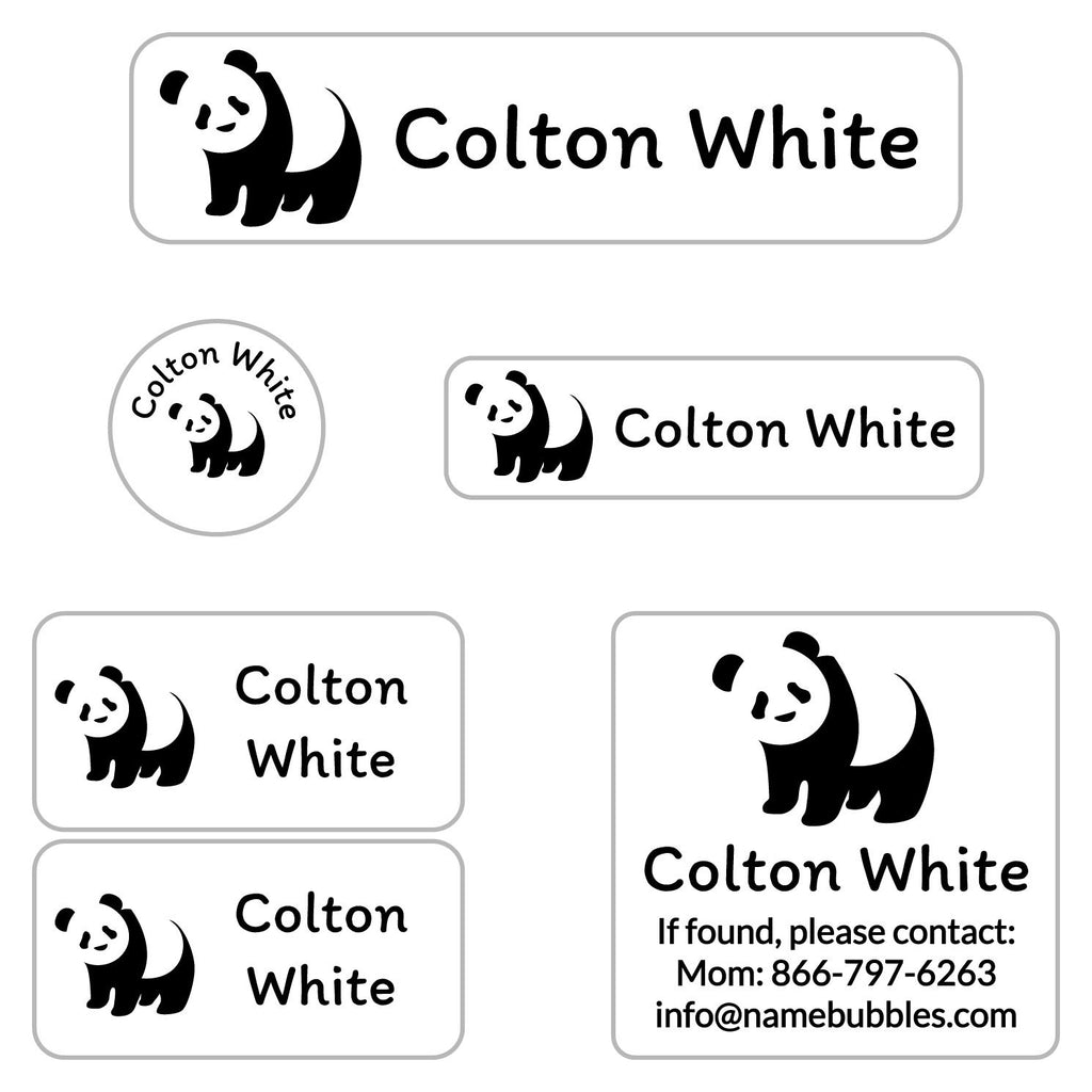 waterproof camp labels with panda design