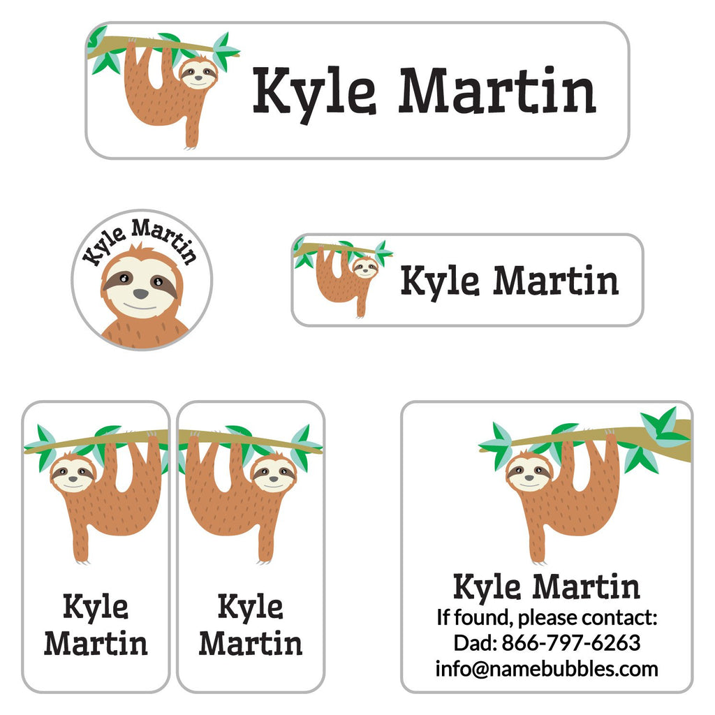 labels for camp with sloth hanging from tree branch design