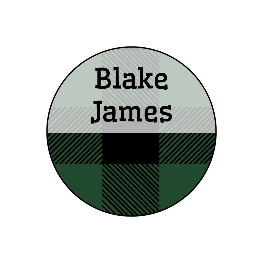 circle name labels with plaid design