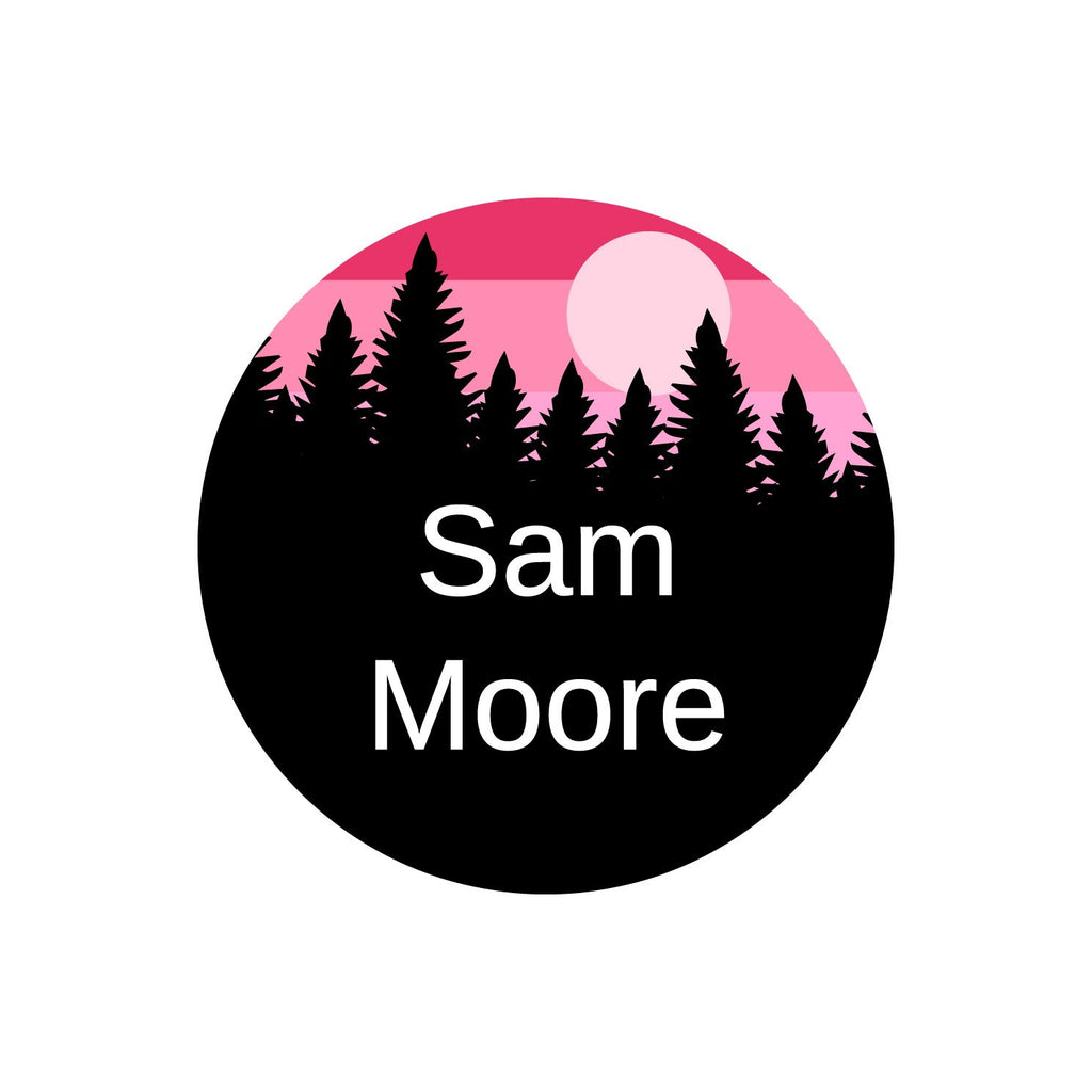 circle name labels with forest silhouette and sky design