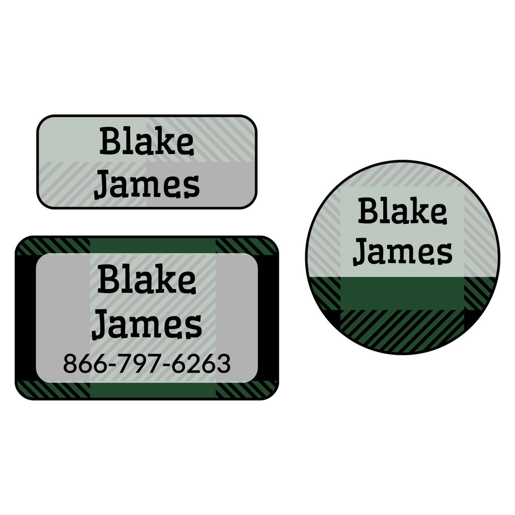 personalized clothing labels with plaid design