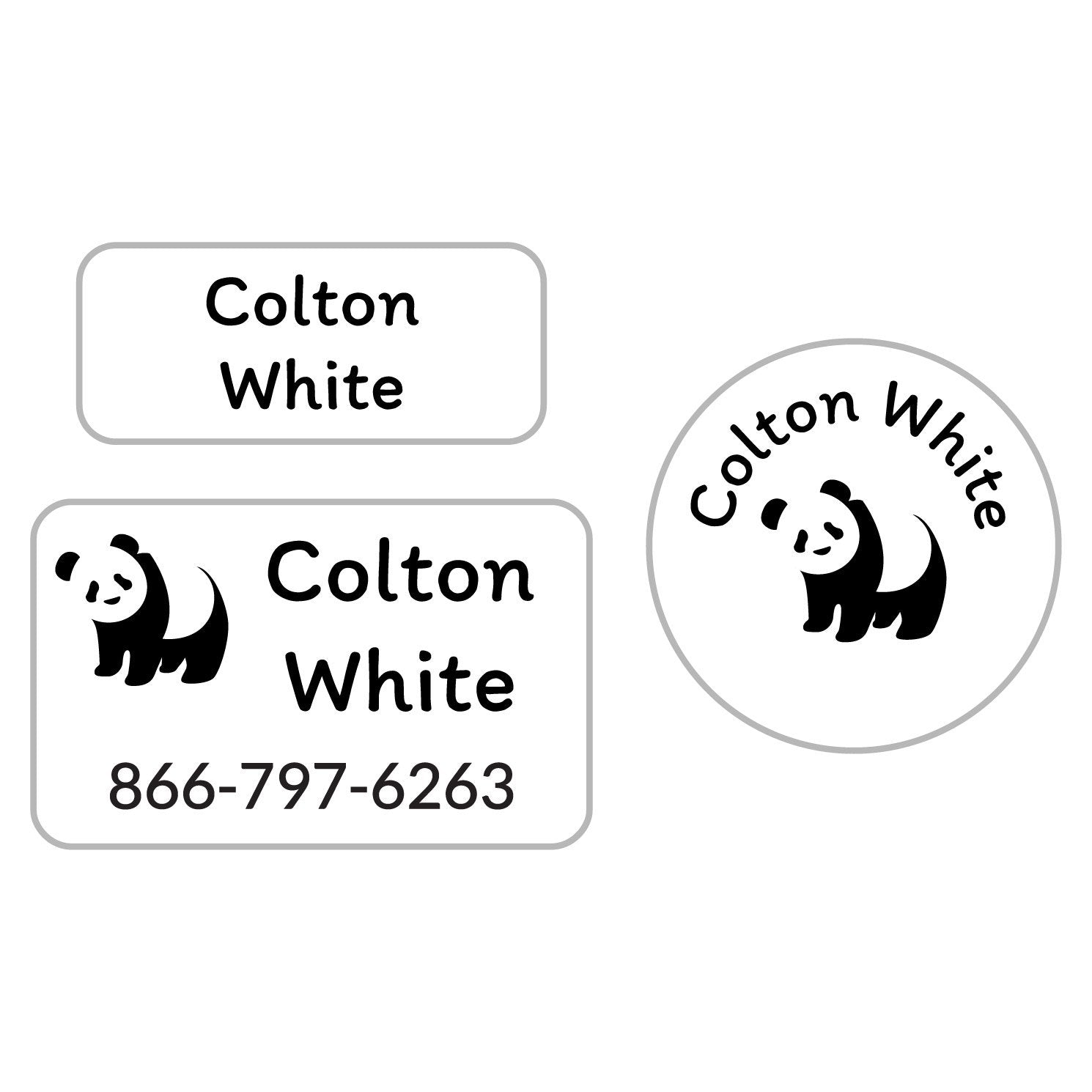 personalized name labels with panda design