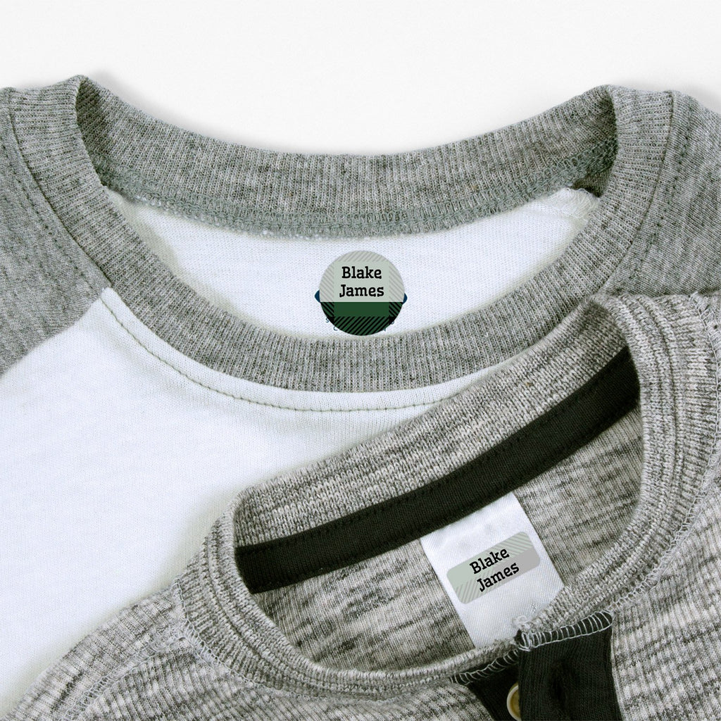 personalized clothing labels with plaid design - _Flannel_Green