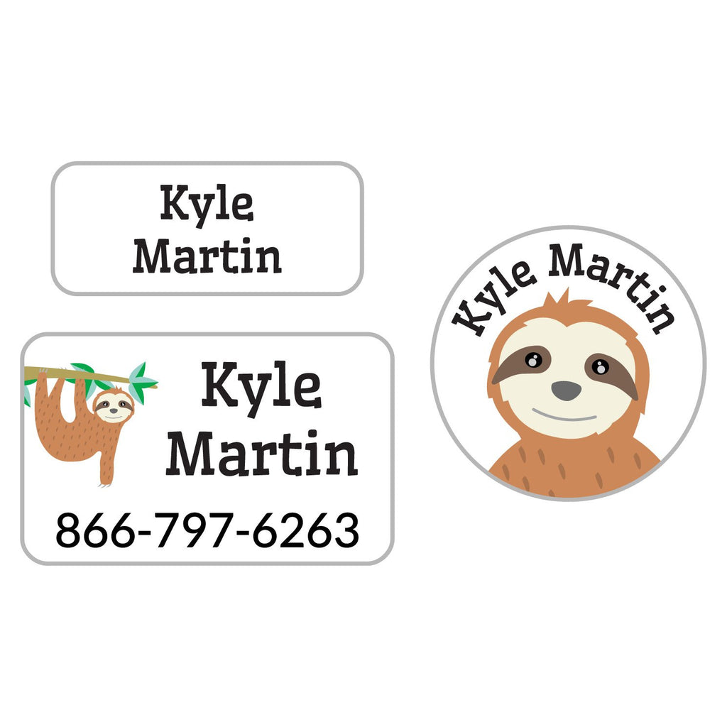 personalized clothing labels with sloth hanging from tree branch design