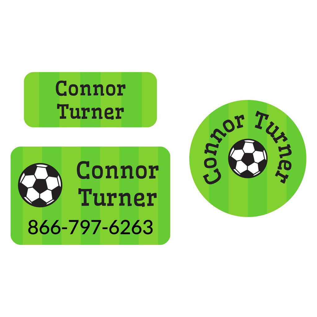 laundry safe labels featuring a soccerball on a striped green background