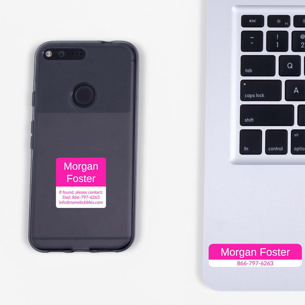 personalized contact information stickers - Hot Pink