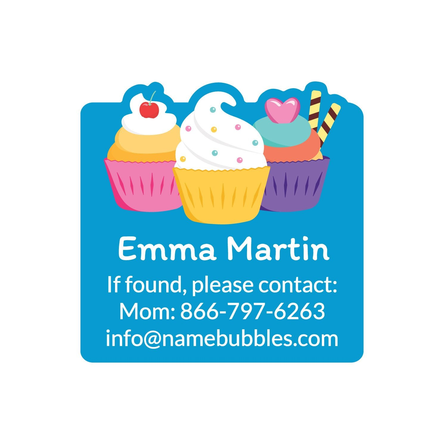 dishwasher safe square contact labels with a trio of cupcakes on blue background design