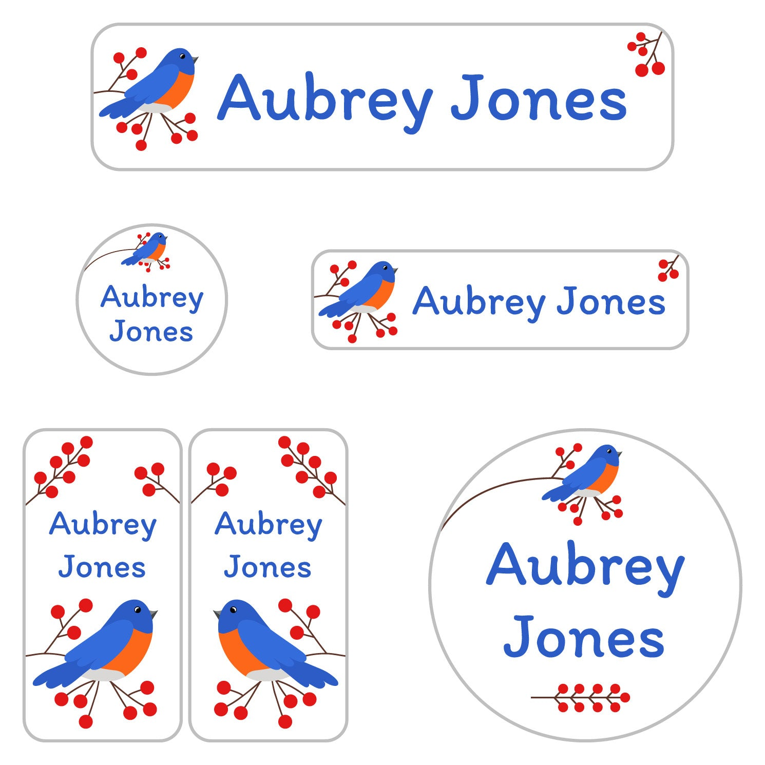 washable daycare labels with bird design