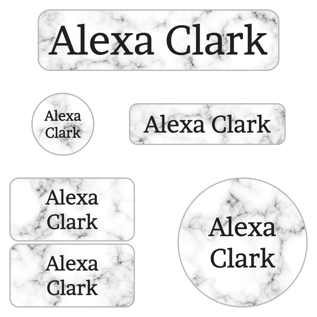 kids waterproof labels with white marble background