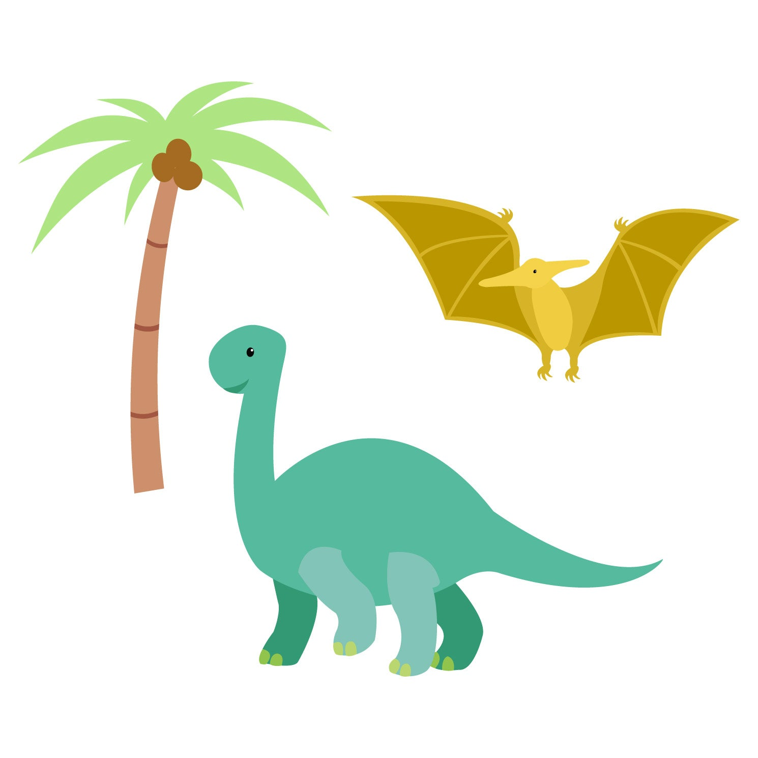 green and yellow dinosaurs next to palm tree waterproof stickers