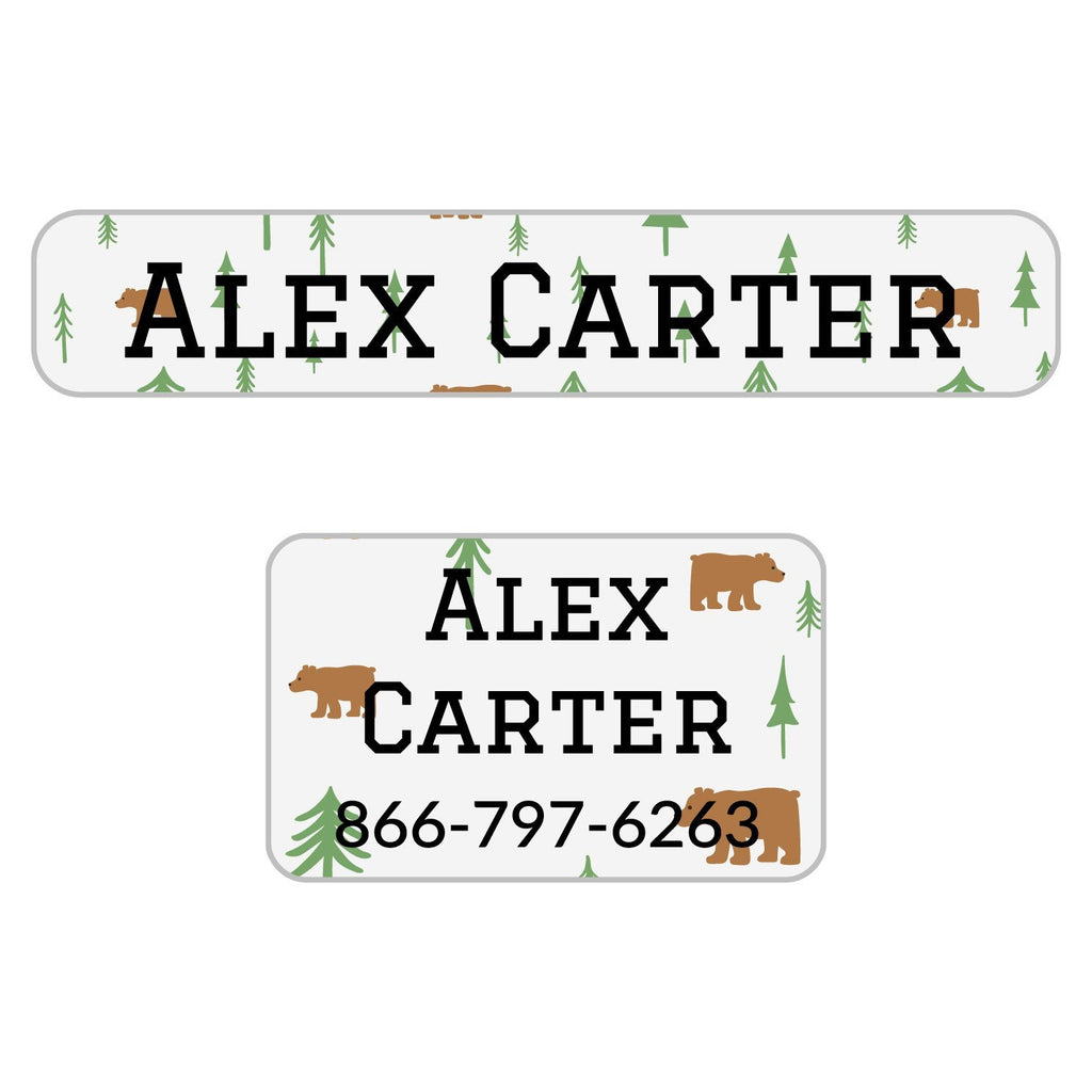 personalized clothing labels with bear design