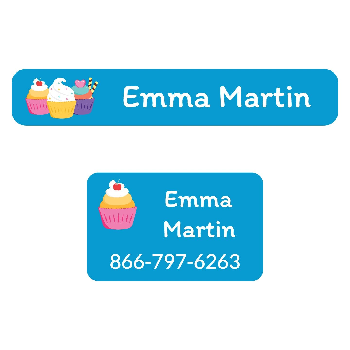 rectangle shaped iron on labels with trio of cupcakes on blue background design