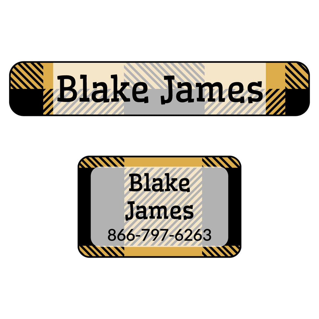 iron-on labels of various shapes and sizes with plaid design