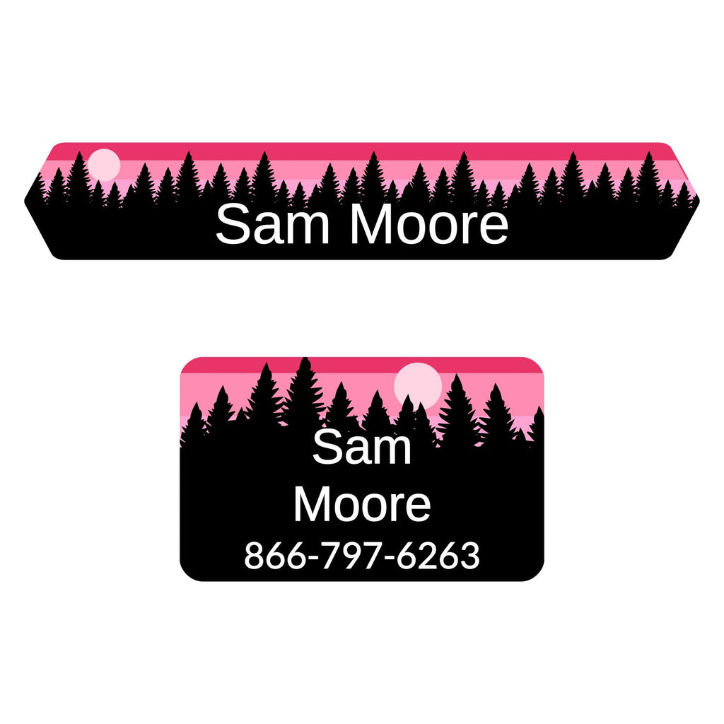 iron-on labels of various shapes and sizes with forest silhouette and sky design