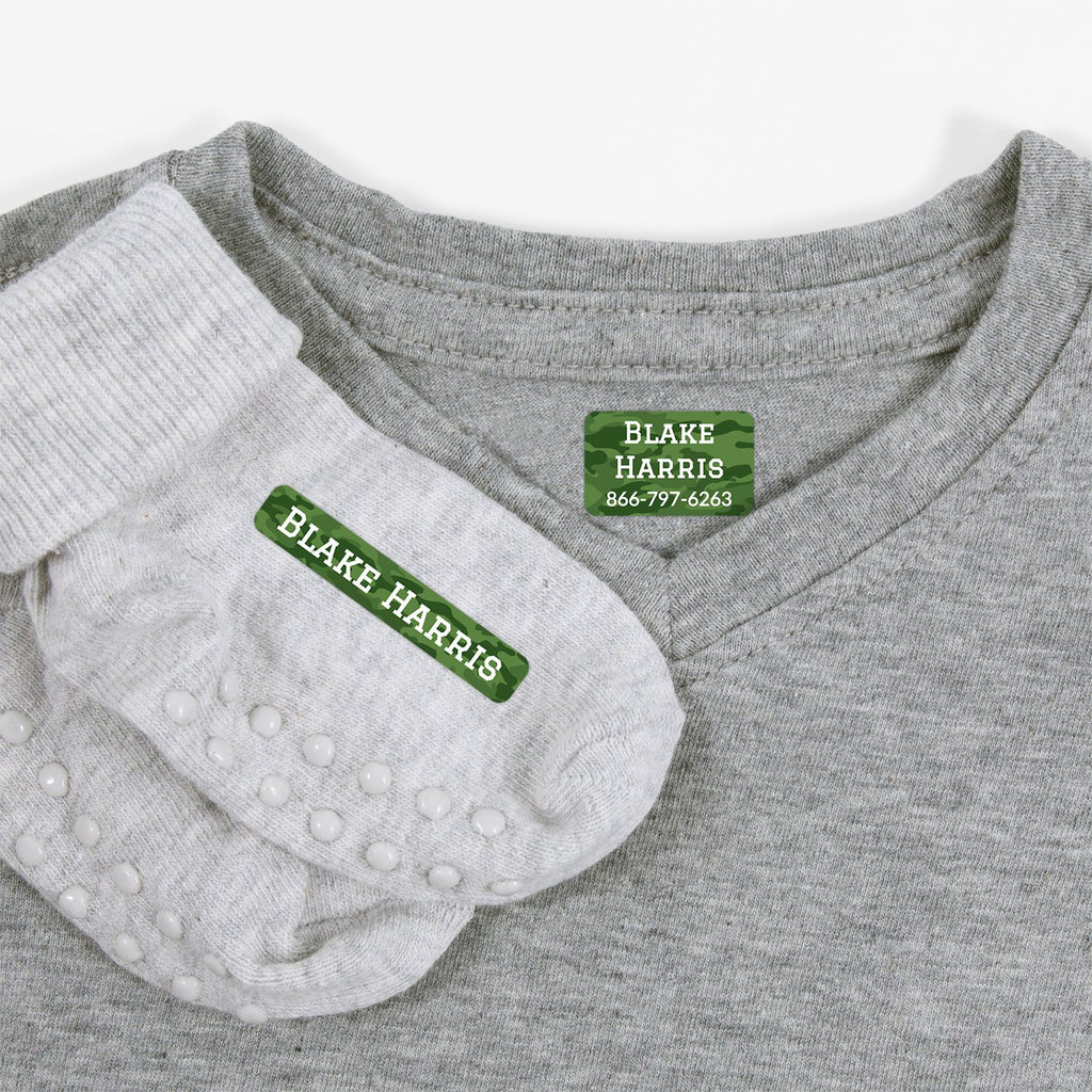 laundry safe labels for kids - _Camo_Green