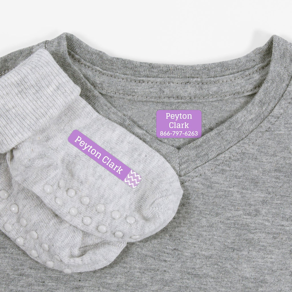 laundry safe iron-on clothing labels - Lavender