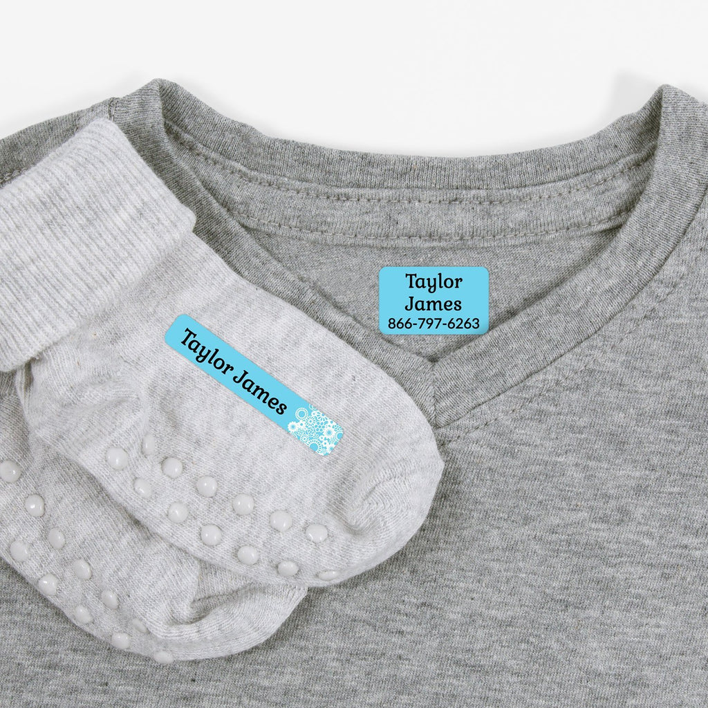 iron on name tags for clothes - Baby Blue