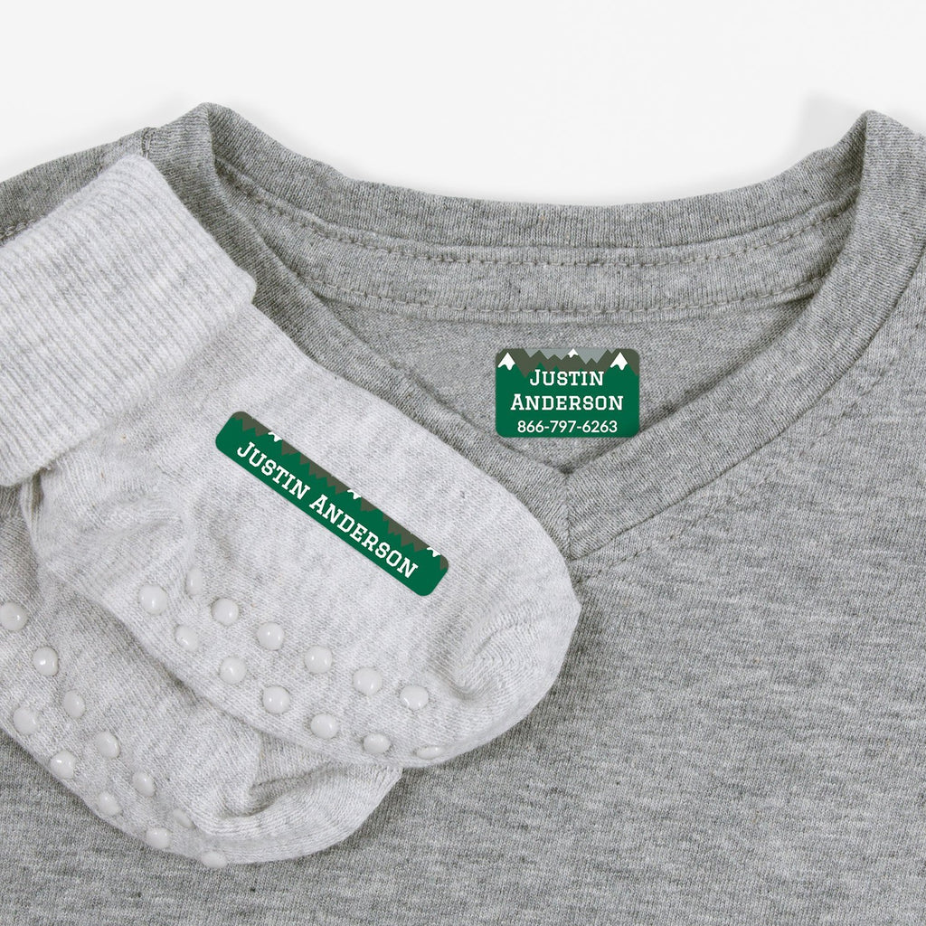 custom iron on clothing labels - _Mountain Top_Green