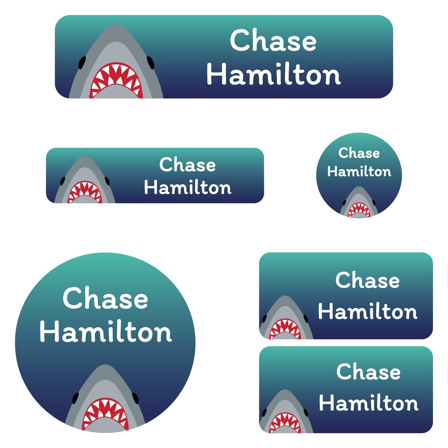 waterproof school stickers with shark on dark blue background design
